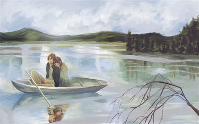 девушка, парень, yano motoharu, takahashi nanami, лодка, guy, girl, boat