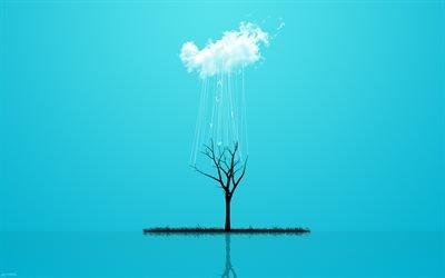облако, tree, дерево, нити, thread, cloud