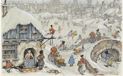 Антон Пик, Anton Pieck, голландский живописец и график, 1958, Зимние развлечения на льду, Winter fun on the ice