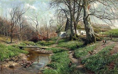Петер Мерк Менстед, Peder Mork Monsted, датский живописец, 1904, Усадьба у реки, Farnstead by a river