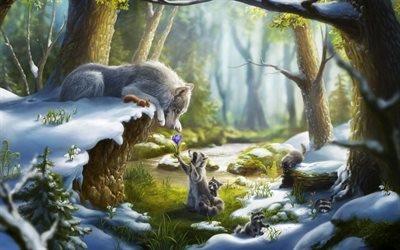 Арт, Фэнтези, Зимний лес, Волк, Енот, Ландыши