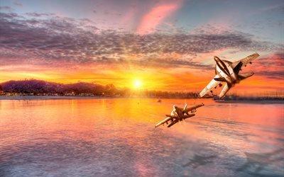 самолёты, пейзаж, высота, вода, солнце