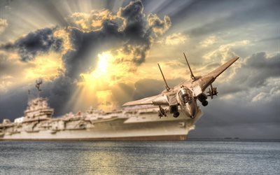 самолёт, корабль, вода, облака, солнце