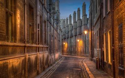переулок, вечер, фонари