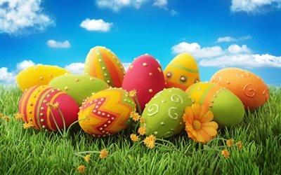 Великдень, крашанки, розфарбовані яйця, зелена трава, Пасха, пасхальные яйца, разукрашенные яйца, зеленая трава