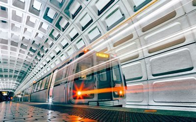 Метро, Станция, Платформа, Поезд