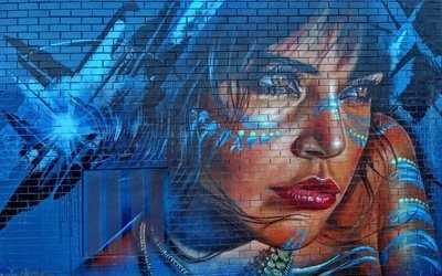 Стена, Граффити, Девушка, Текстуры