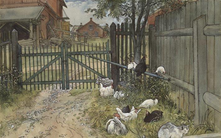 Карл Ларссон, Carl Larsson, шведский художник, Ворота, The Gate, акварель