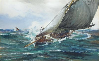 Монтегю Доусон, Montague Dawson, British painter, британский художник, With the Wind, С ветром