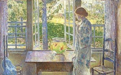 Чайльд Гассам, Childe Hassam, американский художник-импрессионист, 1916, The Goldfish Window, Окно с золотыми рыбками