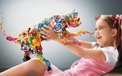 настроение, девочка, ребёнок, смех, радость, игрушка, кот