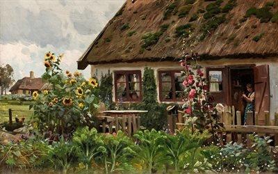 Петер Мерк Менстед, Peder Mork Monsted, датский художник, Девушка с вязанием, 1909, холст, масло