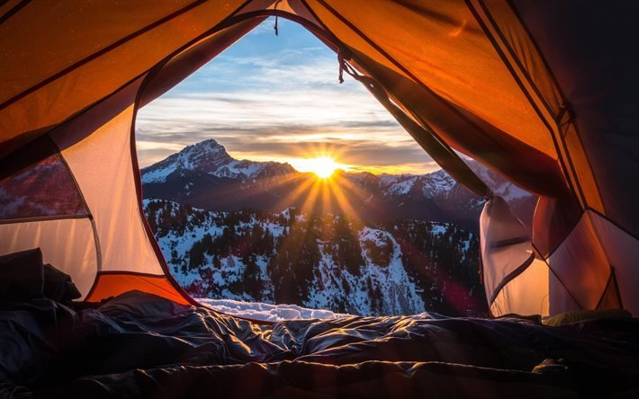 Утро туриста, Палатка, Горы, Снег