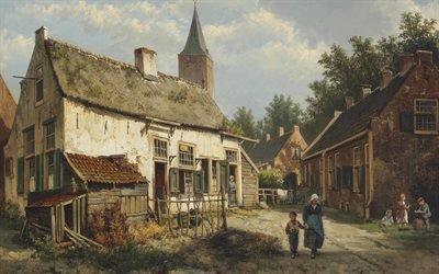 Виллем Куккук, Willem Koekkoek, голландский художник, Dutch painter, Голландский город в летний день, A Dutch town on a summer day