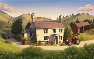 Дом, Трактор, Минимализм