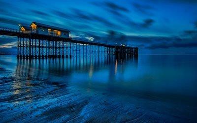 Ночь, Море, Пдяж, Песок, Уэльс, Англия