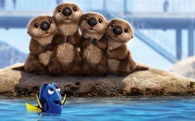 В поисках Дори, Морские львы, Дори, 3Д-анимация, Pixar, 5K, Finding Dory