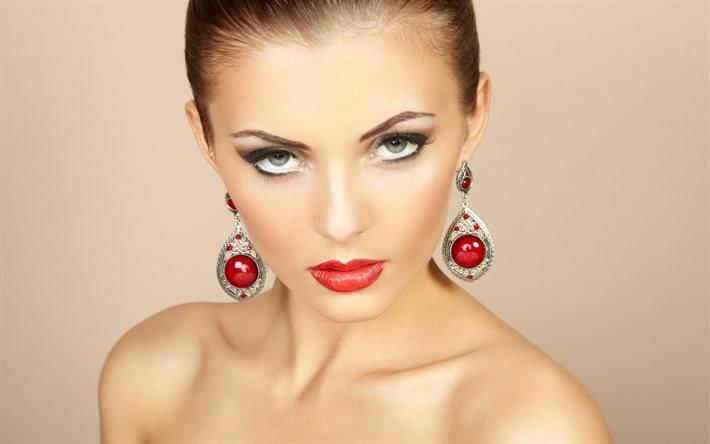 красивый макияж, макияж, красные губы, модель, красивое лицо, красивая девушка, гарний макіяж, макіяж, червоні губи, гарне обличчя, гарна дівчина