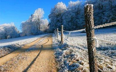 деревья, дорога, зима, небо, снег, широкоформатные