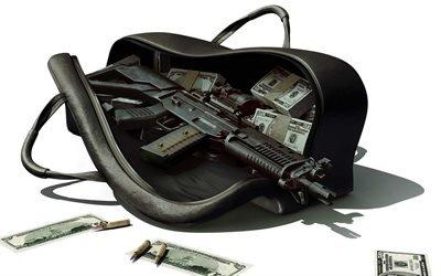автомат, сумка, деньги
