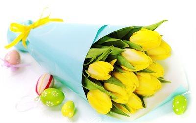 Пасхальні яйця, Пасха, Великдень, Пасхальные яйца, тюльпаны