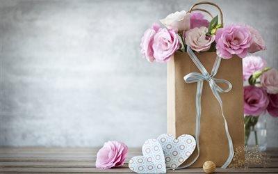 праздник, сумка, цветы, эустома, лента, сердечки, подарок, презент