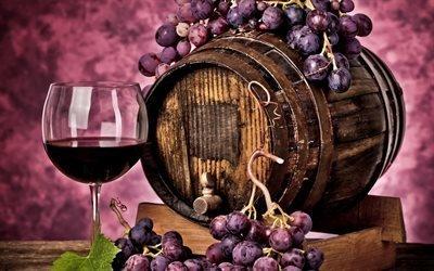 бочка вина, вино, виноград, бокал вина