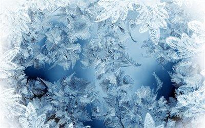 мороз, лёд, снежинки, лед на окне, зимний фон, зима