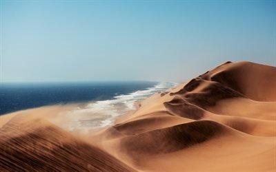 пустыня, барханы, песок, дюны, океан, Африка