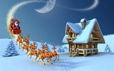 Дед Мороз, санки, олени, Санта Клаус, Новый год, Рождество, Новий рік, Різдво