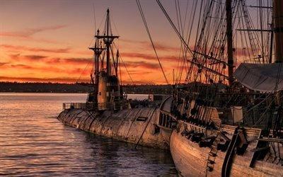 Закат, Старое и новое, Морской музей, Сан-Диего, Калифорния