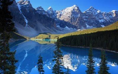 природа, горы, лес, деревья, небо, снег, вершины, озеро, ели, отражение, 4к