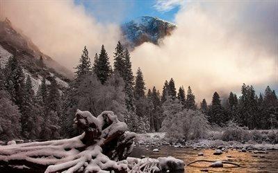 природа, зима, горы, деревья, ели, снег, иней, туман, небо, облака, 4к