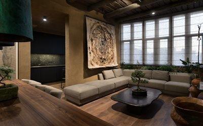 Интерьер гостиной в стиле ваби - саби, Wabi Sabi Apartment