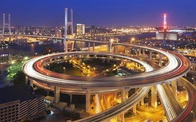Дунцзяду, дороги, развязка, ночь, Шанхай, Китай, Азия