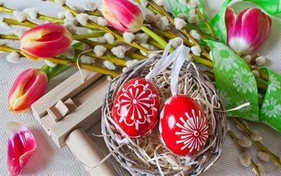 Пасха, тюльпаны, корзинка, пасхальные яйца, Easter