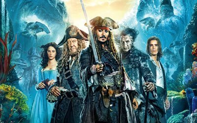 Пираты Карибского моря 5, 2017, 4к, Pirates of the Caribbean, Dead Men Tell No Tales, Джонни Депп, Орландо Блум