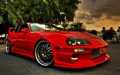 Тойота Супра, тюнинг, HDR, паркинг, красная супра, спорткары, Toyota Supra
