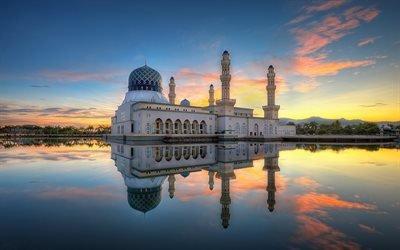 Малайзия, Мечеть Кота-Кинабалу, Ликас Бэй, закат, отражение