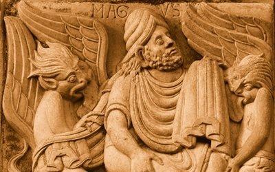 Симон Волхв в окружении демонов, барельеф, базилика, Тулуза