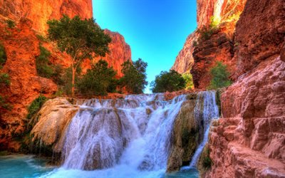 скалы, каньон, горы, Аризона, США, Beaver Falls, Grand Canyon National Park, Arizona