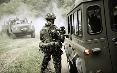 Лес, Дорога, Армия, Машина, Полный привод, Ленд Ровер