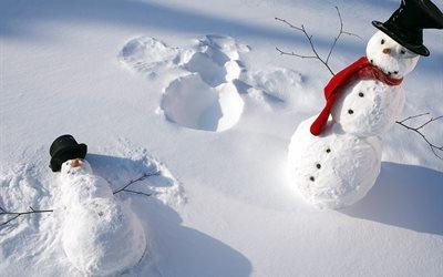 зима, снег, снеговики, пара