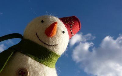 зима, снеговик, кукла, нео