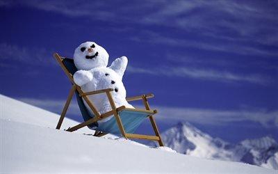 зима, снег, шезлонг, снеговик