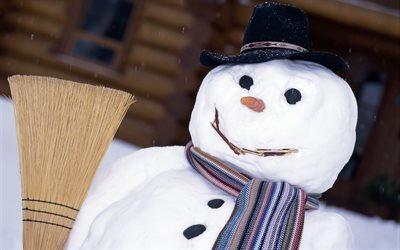 зима, снег, дом, снеговик