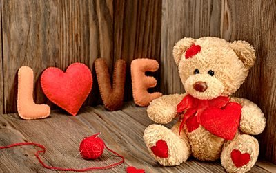 доски, игрушка, мишка, клубок, нитки, иголка, буквы, LOVE, сердце
