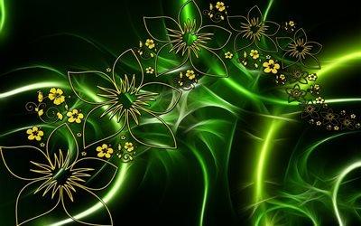 абстракция, графика, линии, свет, фигуры, формы, цветы