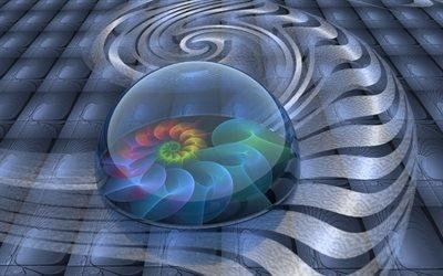 абстракция, графика, линии, фигуры, формы, фрактал, спираль, сфера, цветок, цвета