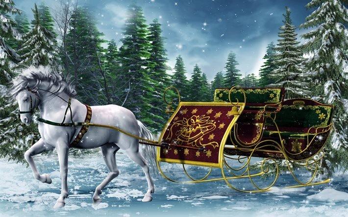 3d, графика, животное, лошадь, конь, зима, сани, новый год, ели, деревья, лес
